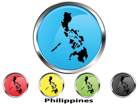 foreign country: Glossy vector map button of Philippines Illustration