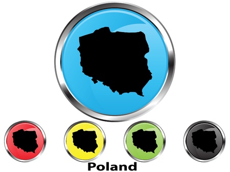 Glossy vector map button of Poland