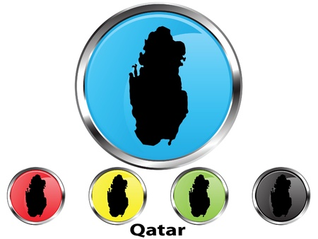 Glossy vector map button of Qatar