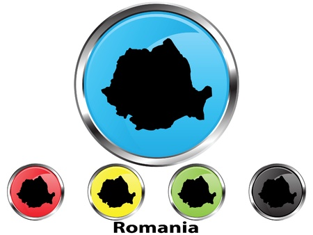 Glossy vector map button of Romania