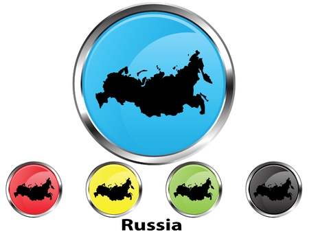 Glossy vector map button of Russia