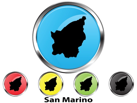 Glossy vector map button of San Marino Illustration