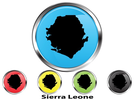 Glossy vector map button of Sierra Leone Stock Vector - 10773125