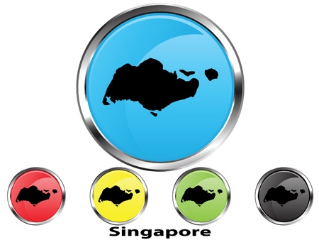 Glossy vector map button of Singapore