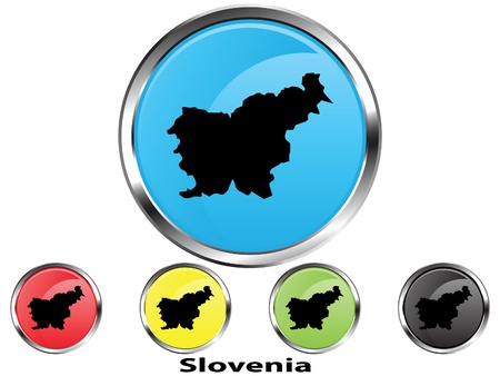 Glossy vector map button of Slovenia