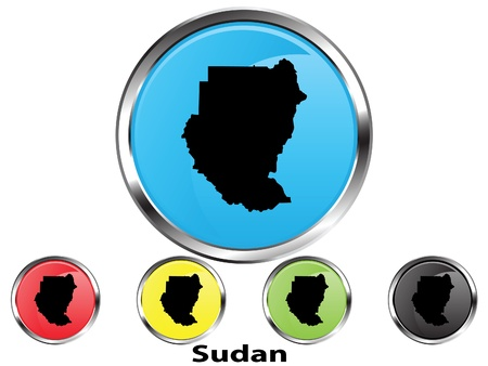 Glossy vector map button of Sudan Illustration