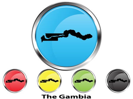 Glossy vector map button of The Gambia Illustration