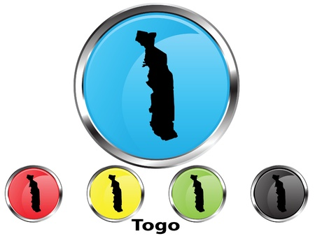 Glossy vector map button of Togo