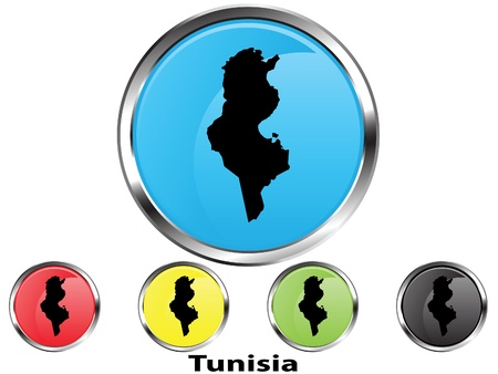 Glossy vector map button of Tunisia