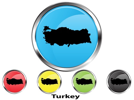 Glossy vector map button of Turkey