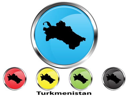 Glossy vector map button of Turkmenistan Illustration