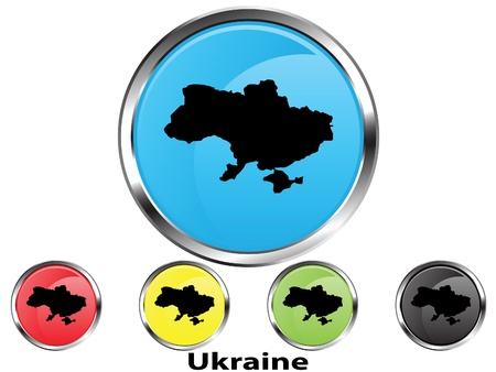 Glossy vector map button of Ukraine