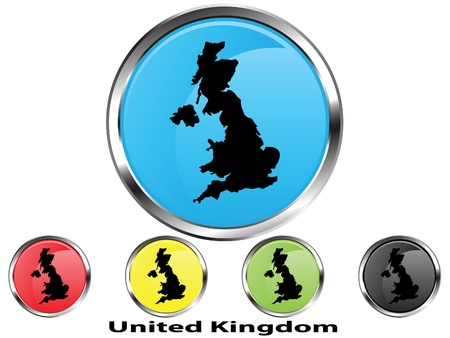 Glossy vector map button of United Kingdom