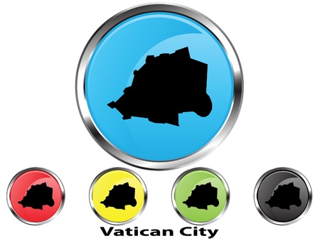 Glossy vector map button of Vatican City