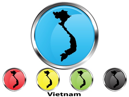 Glossy vector map button of Vietnam Illustration