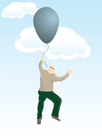 Man flying with balloon
