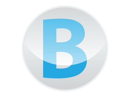 Glossy button of the letter B