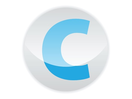 Glossy button of the letter C