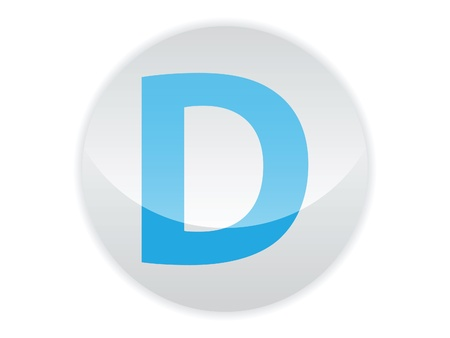 Glossy button of the letter D Illustration