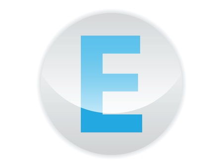 shinning light: Glossy button of the letter E