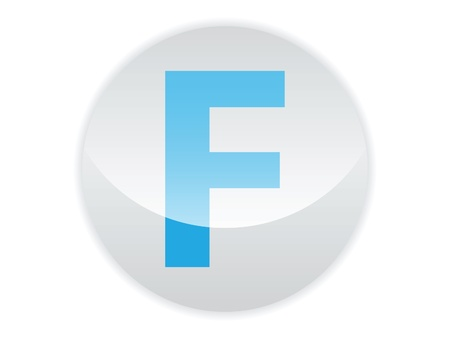 Glossy button of the letter F