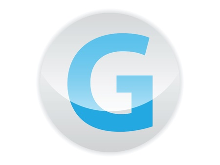 Glossy button of the letter G