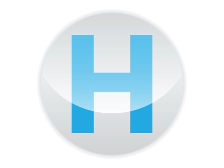 Glossy button of the letter H