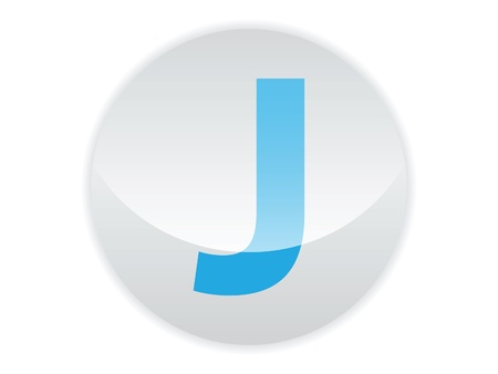Glossy button of the letter J Illustration