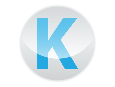 Glossy button of the letter K