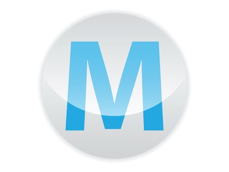 Glossy button of the letter M