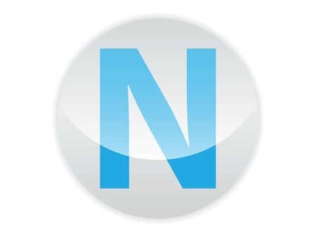 Glossy button of the letter N