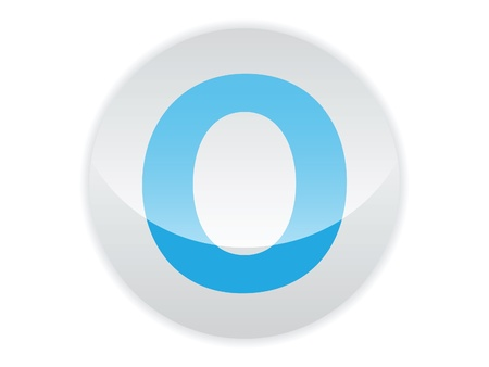 shinning light: Glossy button of the letter O