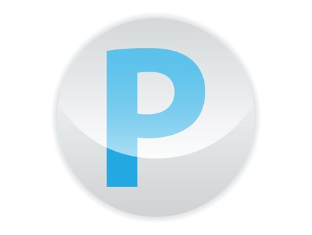 Glossy button of the letter P