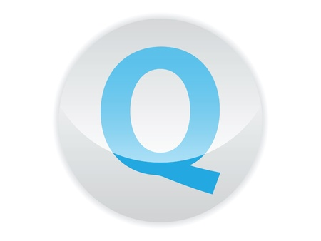 Glossy button of the letter Q