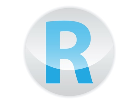Glossy button of the letter R Illustration