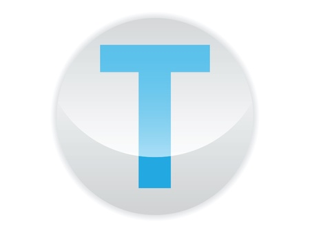 Glossy button of the letter T Illustration