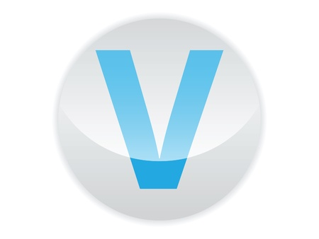 Glossy button of the letter V