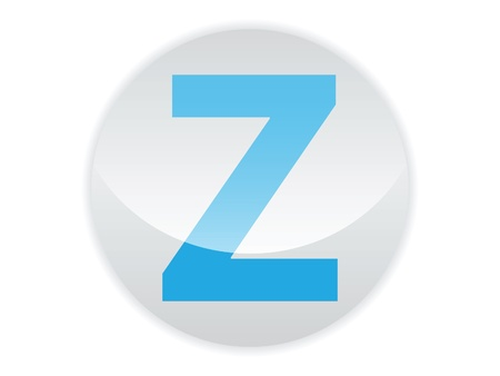 Glossy button of the letter Z
