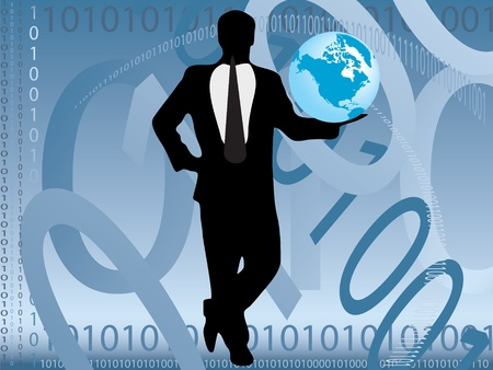 Businessman holding the planet in binary world Stock Vector - 10773335