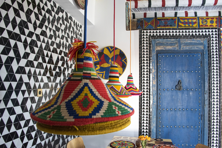 Essaouira, Morocco - September 2017: Brightly coloured morocan styled boutique bistro