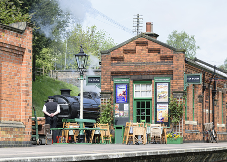 ROTHLEY Great Central Steam railway, UK - 2015 : Station master on the platform
