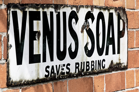 ROTHLEY Great Central  Steam railway, UK - 2015 :  Vintage advertising sign for Venus Soap Editorial