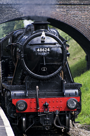 ROTHLEY Great Central  Steam railway, UK - 2015 :  Stanier 8F 2-8-0 freight locomotive 48624 in black livery. Editorial
