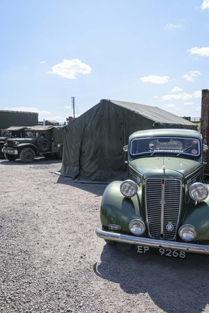 UK, Leicester shire, Quorn, Great Central Railway - 07-06-2018: Vintage military vehicles parked outside of army tents