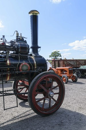 UK, Leicester shire, Quorn, Great Central Railway - 07-06-2018: Victory Day Celebration Event - vintage steam engine on display