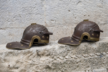 Croatia, Split - June 2018: Replica Roman Legionaries helmets in the Gallic style, used by re-enactors in the Diocletian Place