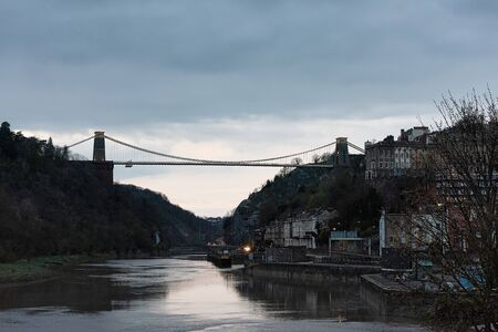 UK, Bristol, April 2019 - Bristol  suspension bridge, spanning the Avon Gorge 스톡 콘텐츠