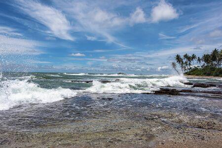 Sri Lanka, - Sept 2015: Waves crashing onto the beach at Galle