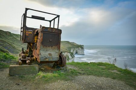 Rusting tractor engine once used to launch life boats at RNLI Flamborough Lifeboat Station