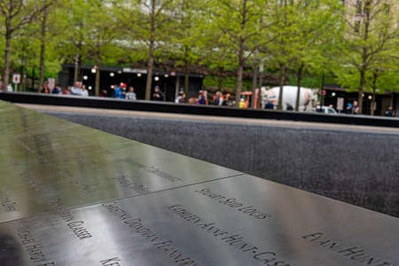 USA, New York - May 2019: 9/11 monument, World Trade Centre